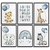 Frechdax® Set Poster Kinderzimmer - A4 Bilder Babyzimmer - Junge Deko Mädchen (Dschungel Tiere...