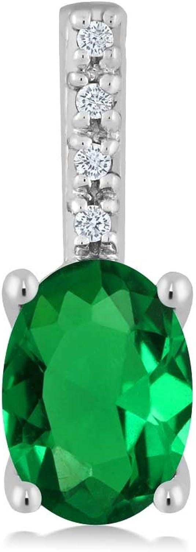 10K White gold Oval Green Nano Emerald and Round White Diamond Pendant Necklace (7x5mm center, 0.60 cttw)