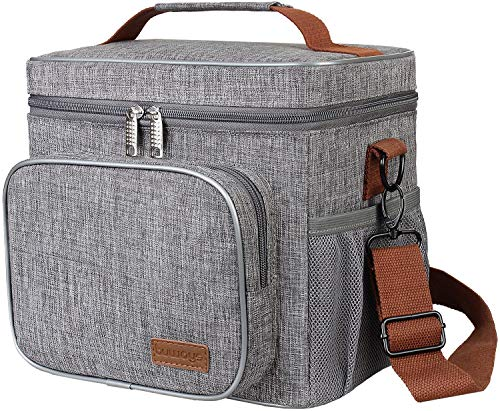 buways Lunch Bag, Large Insulated Lunch Box for Men, Adults, Women, Durable & Spacious Insulated Cooler, Thermal LunchBox Tote for Work, Picnic, Hiking (Grey)