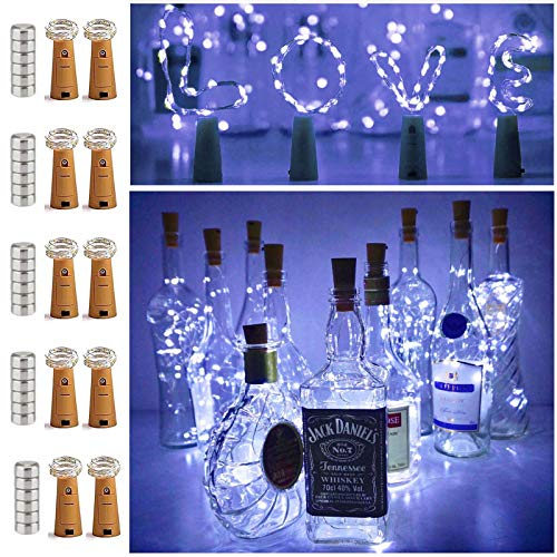 10 Pack 20 LED Wine Bottle Cork Lights Mini Fairy String Lights Copper Wire, Battery Operated Starry Lights for DIY, Festival, Wedding, Party, Indoor, Outdoor Decoration (Cool White)