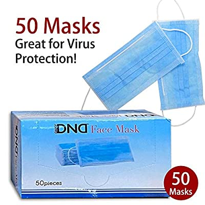 Disposable Medical Face Mask - Thick 3Ply Medical Masks with Comfortable Earloop, Great for Dust, Germ and Virus Protection and Personal Health (50pcs, Blue)