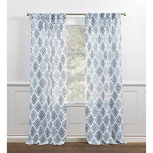 Chaps Ikat Medallion Printed Semi Sheer Textured Back Tab/Rod Pocket Curtain Panels, 38x96, Blue
