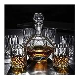 WJJ Botella de Whisky Cristal 7 Pieza Whisky la Jarra del 100% sin Plomo Vaso de Whisky y espíritu Decanter 800 ml Vaso Vasos for Beber de Inicio restaurantes y Fiestas Decantadores