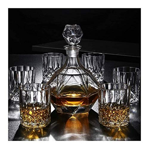 GAOTTINGSD Botellero 7 Pieza Whisky la Jarra del 100% sin Plomo Vaso de Whisky y espíritu Decanter 800 ml Vaso Vasos for Beber de Inicio restaurantes y Fiestas