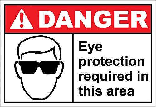 Yilooom - Adhesivo de Vinilo para Alerta de Ojos con Texto en inglés Required In This Area, 17,8 x 25,4 cm