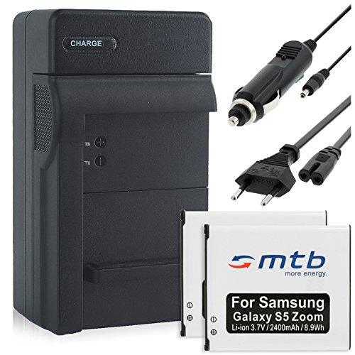 2 Akkus + Ladegerät (Netz, KFZ) EB-BC115 für Samsung Galaxy K Zoom, Galaxy S5 Zoom (SM-C115)