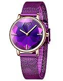 CIVO Reloj Mujer Minimalista Impermeable Relojes Mujeres Pulsera Acero Inoxidable Malla Mujer Señoras Elegante Clásico Vestido Negocios Casual Relojes Analógicos Mujeres Rojo Morado