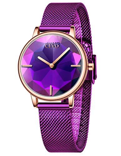 CIVO Damen Uhr wasserdichte Edelstahl Mesh Uhren Damen Armbanduhr Design Elegante Kleid Business Schnitt Uhren für Damen Frauen Mädchen Lila