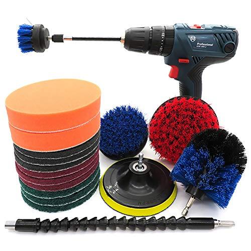 Cepillo de Taladro Eléctrico Conjunto de Accesorios de Cepillo de perforación 18 PCS Kit de Cepillo de Limpieza de Taladro para Limpieza de Azulejos de Limpieza, bañera Azulejos de Piscina,Cocina