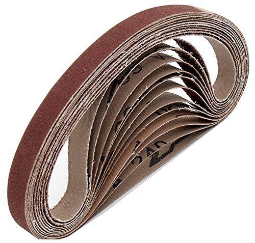 Gewebe-Schleifbänder │ 96 Stück │ 13 x 451 mm │ je 16 x Korn 40/60/80/120/180/240 │ kompatibel mit Black&Decker® Powerfeile │ Schleifpapier │ Schleifband-Mixpack