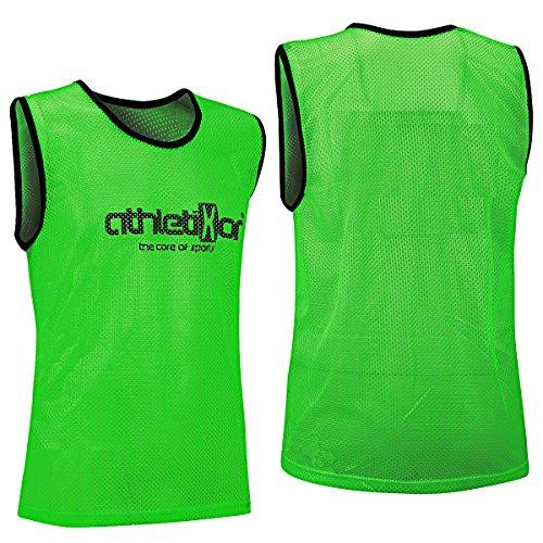 athletikor 10 Fußballleibchen - Trainingsleibchen - Leibchen - Markierungshemden (Grün, ab B Jugend - Erwachsene XL: 73X60CM)