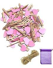 SENDILI Color Clavijas de Madera - Pinza de Foto para Tarjetas/Notas/Regalo para Decoración de Dormitorio, Rosa