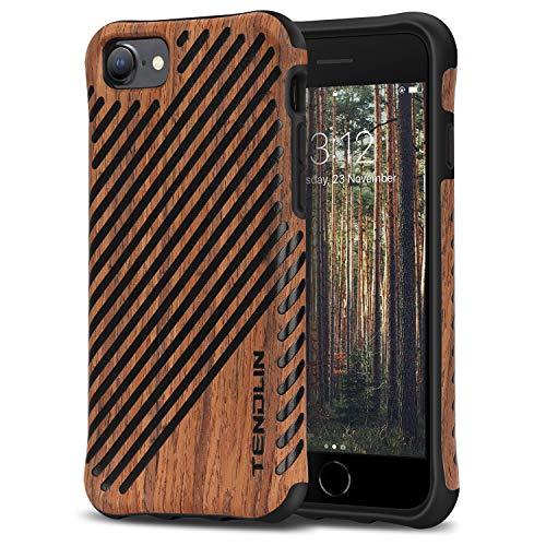 TENDLIN Kompatibel mit iPhone SE 2020 Hülle/iPhone 7 Hülle/iPhone 8 Hülle Holz & TPU Hybrid Schutzhülle (Holz und Leder)