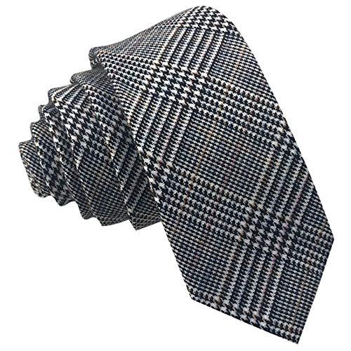 GASSANI Tweed Woll-Krawatte Kariert, Schmale Dünne Flanell Herren-Krawatte Wolle Baumwolle Twill, Hell-Braune Ockerbraune Schwarze Weisse Karos Raute