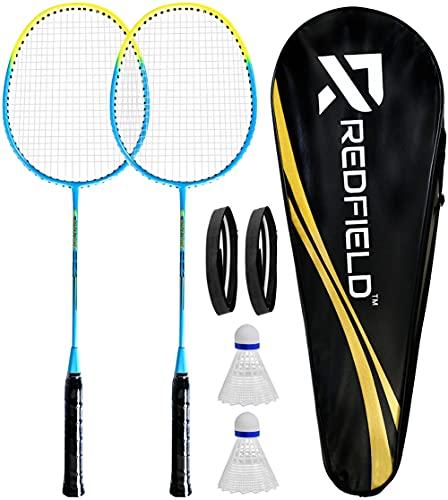 Redfield Badminton Set, 2 Badmintonschläger, 2 Federbälle, Tragetasche, 2 Griff, Federball Set für 2 Spieler, Badminton Schläger, Federballschläger Set fur Sport und Unterhaltung