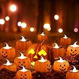 FGen 12pcs Luci di Candela di Zucca di Halloween, Luci Zucca Halloween, Candele Lanterna Zucca, Puntelli di Decorazione di luci di Candela di Zucca di Halloween, per Halloween, Decorazioni Natalizie