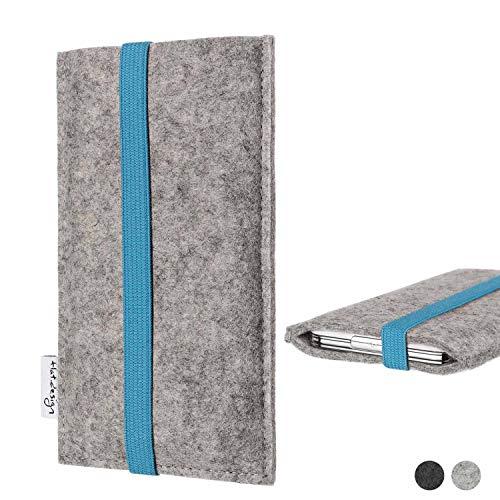 flat.design Handy Hülle Coimbra kompatibel mit Huawei P20 Pro Single-SIM - Schutz Hülle Tasche Filz Made in Germany hellgrau türkis