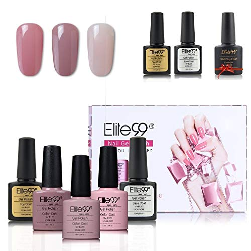 Elite99 UV LED Nagellack set uv gel shellac set sock off gel peer off nagellack uv farbgel gel matt nagellack polish 5 Flasche 7.3ml 1 Flasche 10ml
