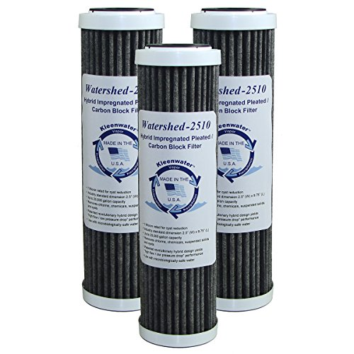 KleenWater Watershed2510 Hybrid Pleated/Carbon Block Whole House Water Filters, 2.5 x 10 Inch (3) - Unsurpassed Filtration - Dirt, Rust, Sediment, Chlorine, Cysts and More