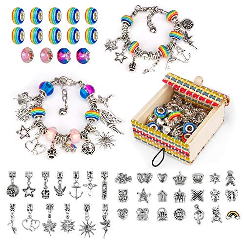 Little Guy Gifts for Girl Age 7 8 9 11, Girl Birthday Presents for 7-11 Years Old DIY Crystal Glass Beads Bracelet Toys Age 7 8 9 Year Old Girl Colorful Girls Jewellery Toy for Girl Kids