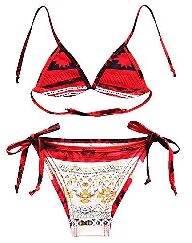 Lovelegis Vaiana Mädchen Badeanzug - Mädchen - Moana - Ozeanien - Zweiteiler - Bikini - Slip - Triangel Top - Meer - Schwimmbad - originelle Geschenkidee - Größe 120-8/9 Jahre