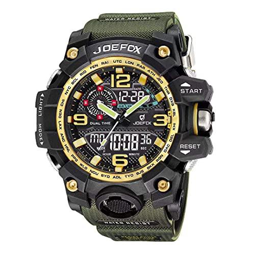 Herren Digitale Uhren Gold, Sport Grün Armbanduhr mit Digital und Analog 50M wasserdichte Stoppuhr mit Wecker, Laufen große Anzeige LED Digitaluhren für Herren