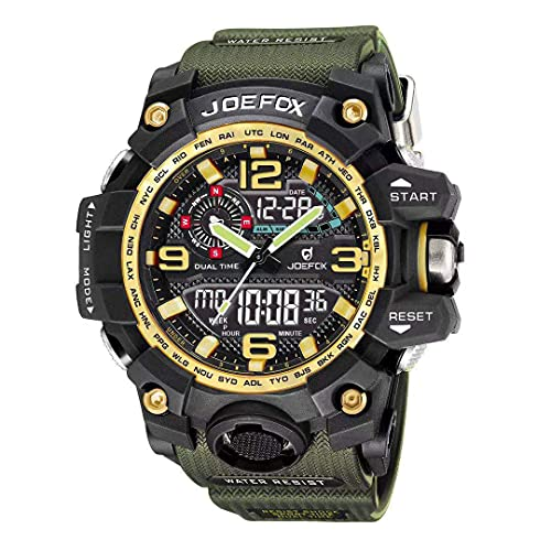 Reloj Militar para Hombre Verde Deporte Relojes Analógico y Digital LED Electrónico Grande Relojes Resistente al Agua 50M