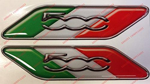 Logo Fiat 500 coppia bandiera Italia. Adesivi resinati, effetto 3D. Bandierine tricolore per 500, 500 Abarth, nuova Fiat 500
