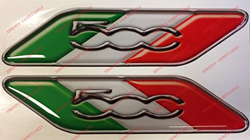 Fiat 500 Logo Italiaanse Vlag Paar 3D Effect Resin Stickers Fiat 500, 500 Abarth Tri-Colour Vlaggen