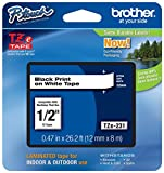 Genuine Brother 1/2' (12mm) Black on White TZe P-touch Tape for Brother PT-1180, PT1180 Label Maker with FREE TZe Tape Guide Included