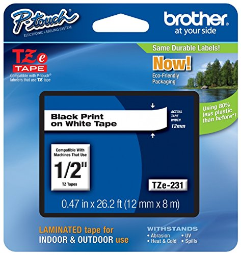 "Genuine Brother 1/2"" (12mm) Black on White TZe P-Touch Tape for Brother PT-2100, PT2100 Label Maker with Free TZe Tape Guide Included"