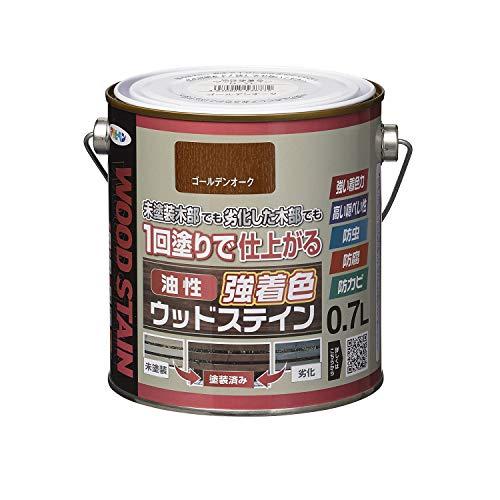 アサヒペン(Asahipen) 油性強着色ウッドステイン 0.7L ゴールデンオーク