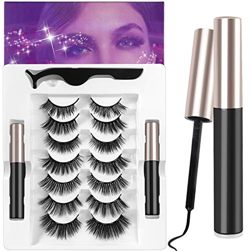 ANRUI Upgrade Magnetic Eyelashes With Eyeliner (7 Pairs),5D Reusable & Waterproof False Lashes Natural Look & Long Party Lashes, 2 Cubes Magnetic Eyeliners - No Glue Needed