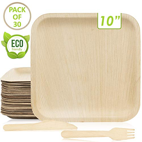 30 Disposable Palm Leaf Plates (Square 10 Inch) With 30 Wood Forks & 30 Knives - Better than Bamboo or Wooden Plates -Extra Sturdy, 100% Compostable & Biodegradable Eco-Friendly Rustic Party Tableware