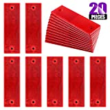 Swpeet 20Pcs Universal Red Plastic Rectangular Stick-on Car Reflector Sticker, Door Reflec...