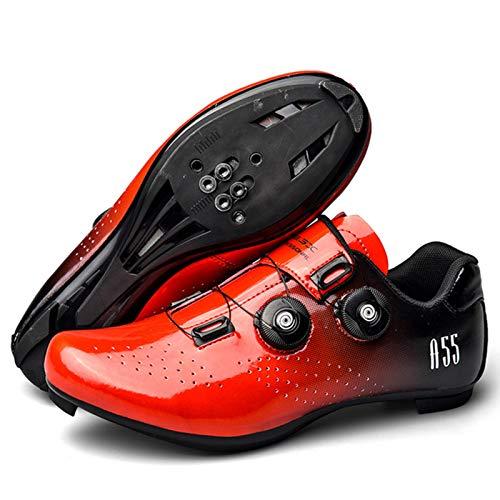 Zapatos De Bicicleta Atléticos Profesionales, Zapatos De Ciclismo para Hombres, Zapatos De Bicicleta De Carretera con Autobloqueo, Zapatillas De Ciclismo para Mujeres(36, Red)