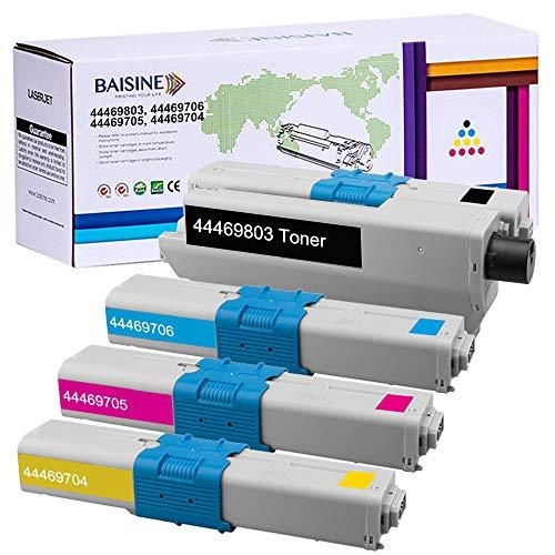 BAISINE 4er-Pack Toner Oki C531dn Kompatible für Oki MC362 MC362dn C531dn C511dn MC562 MC352 C310 C312dn C330 C331dn MC351 MC361 C510dn C530 MC561, 44469803 44469706 44469705 44469704 (BCMY)