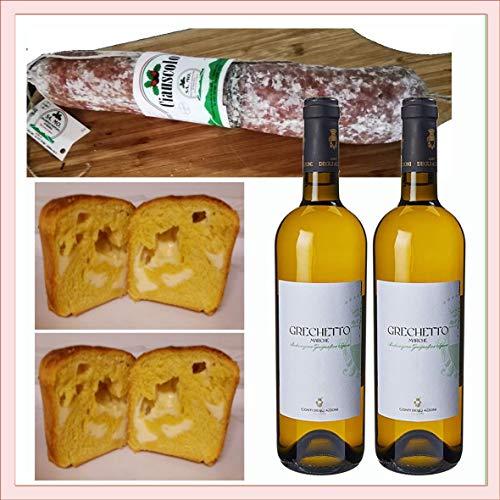 Selezione Macerata Bianco 318. Ciauscolo IGP 600 gr, Pizza al Formaggio 2x250gr in vasocottura, sottovuoto naturale, 2x vino bianco colli maceratesi grechetto, prodotto tipico marchigiano, Italia