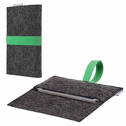 flat.design vegane Handyhülle Aveiro kompatibel mit BlackBerry KEY2 (Dual-SIM) - Smartphone-Tasche aus Filz - Handytasche vegan Handmade in Germany