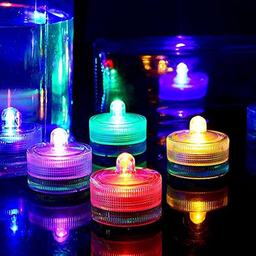 HL 24pack RGB A Prueba de agua Submarino Redondo Mini LED Luces de té Luces sumergibles para la boda Inicio Patry Jarrón Festival Decoración de San Valentín