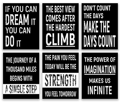 Inspirational Wall Art, Motivational Wall Art, Office Wall Decor, Positive Quotes & Sayings Posters, Office Decor (Set of 6, 8X10in, Unframed)