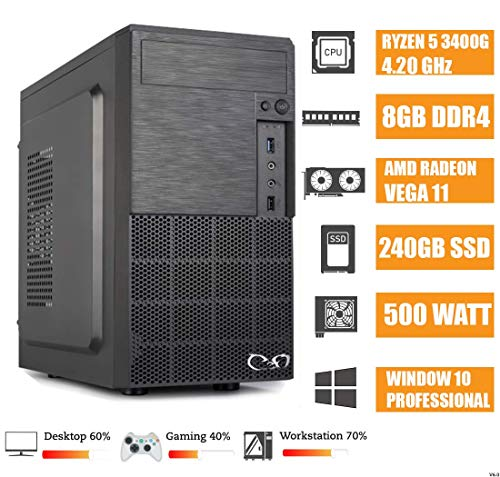 - CEO Epsilon V5 - Business Desktop - Ryzen 5 3400G Hexa Core 4.20 GHz 4MB | 8GB RAM | 240GB SSD | USB 3.1 | Radeon RX Vega 11 | HDMI/VGA | Windows 10 Pro