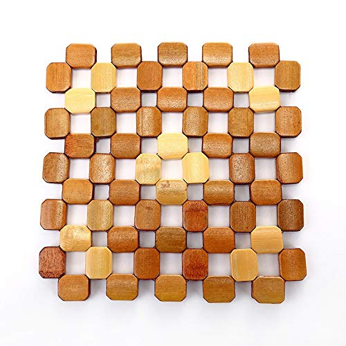 1pcs Bamboo Placemats Anti-Scalding Anti-Slip Hushållskål Mat Kustar Isolerade Table Mats (Color : Large)