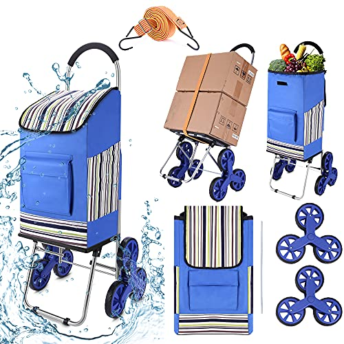 2-in-1 Shopping Cart, Foldable Stair Climber Shopping Cart with Wheels, Compact Grocery Laundry Utility Cart Hand Truck with 45L Detachable Waterproof Bag & Adjustable Bungee Cord, Max Load 200lbs is $38.98 (59% off)