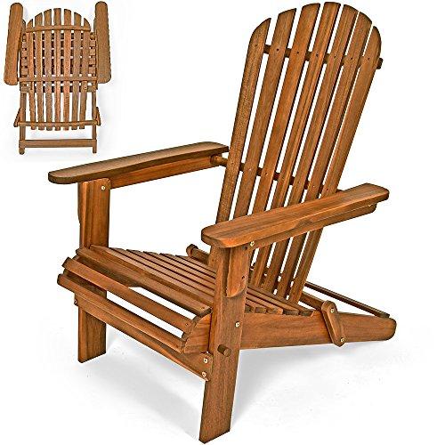 Deuba® Sonnenstuhl Adirondack Akazienholz klappbar abgerundete Armlehnen Deckchair Liegestuhl Holzstuhl Gartenstuhl