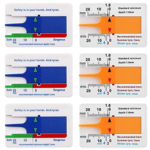 Profiltiefenmesser Auto Reifenprofil Tiefenmesser Tiefe Reifenprofiltiefenmesser Auto Tiefe Meter Vernier Tiefenmessschieber Reifen Radtiefe Werkzeug 0-20 mm für Auto Motorrad Van Fahrzeuge 6 Stück