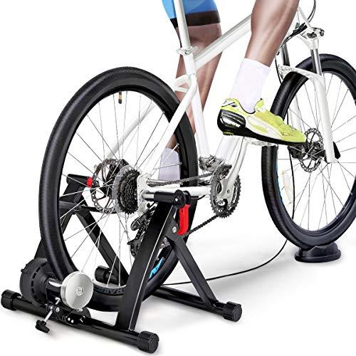 Yaheetech Rullo Allenamento Bici Trainer Pieghevole per Bici da 26 a 29 Pollici e 700C Ciclismo Freno Magnetico 6 velocità Regolabili con Marce Commutabili a Cavo