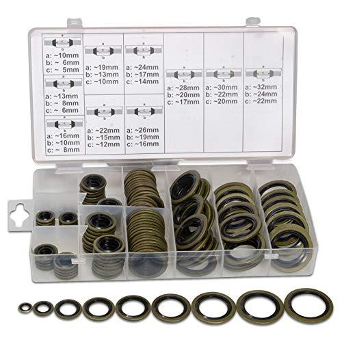 150-tlg. Bonded Seal Dichtring Sortiment | usit Ring Set | M6-M24 | für z.B. Ölablass-Schrauben, Zentral-Hydraulik, Servolenkung