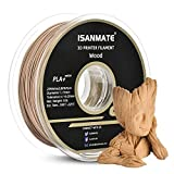 iSANMATE Wood Filament 1.75mm, PLA+ Wood Filament 1.75mm, 3D Printer Filament 1 kg Spool (20% Wood Powder+80% PLA+)