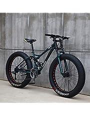 AISHFP Mens 26 Pouces Fat Tire VTT, Plage Vélos Neige, Double Disque de Frein Cruiser vélo, en Alliage d'aluminium léger à Haute Carbone Cadre en Acier